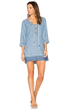 Denim Lace Up Dress in Sun Wash