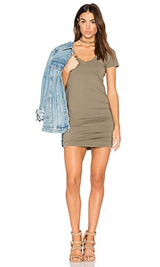 Ruched Mini Dress in Olive Moss