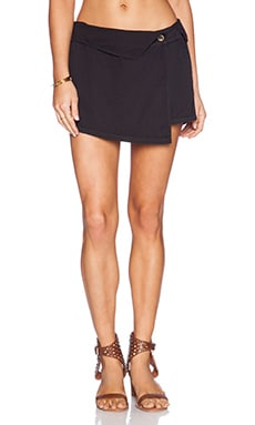 Michael Stars Asymmetrical Wrap Skort in Black