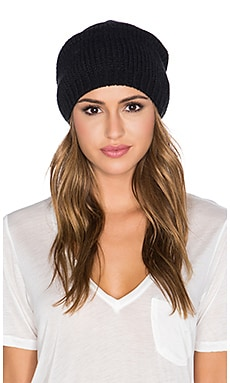 Michael Stars Faux Fur Pom Pom Slouch Beanie in Black