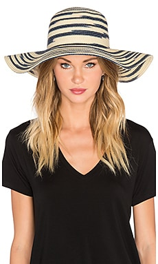 Michael Stars Swirl Striped Floppy Hat in Nocturnal