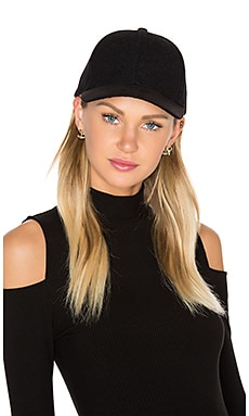 Sueded Brim Baseball Hat in Black