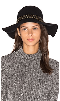Mixed Metal Floppy Hat in Black