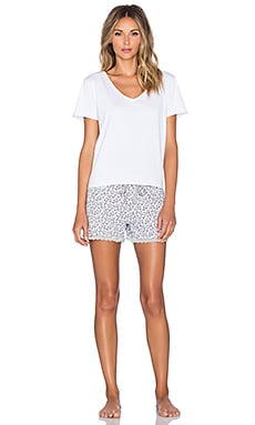 Michael Stars Short Sleeve V Neck and Drawstring Short Pajama Set in Snow Leopard