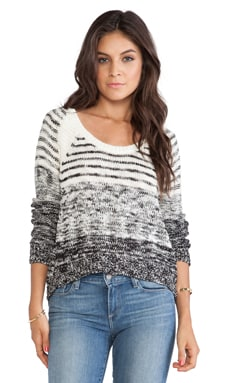 Michael Stars Hi-Low Boat Neck Sweater in Winter White & Black