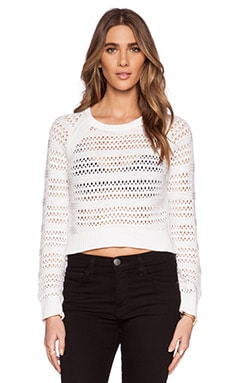 Michael Stars Long Sleeve Hi-Low Crop Sweater in White