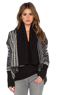 Michael Stars Open Front Blanket Cardigan in Black