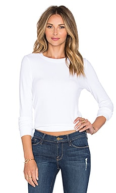 Michael Stars Crew Neck Crop Sweater in White