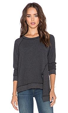 Michael Stars Front Slit Crew Neck Sweater in Black