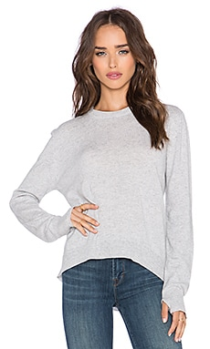 Michael Stars Wideneck Thumbhole Sweater in Heather Grey