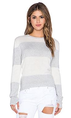 Michael Stars Striped Wideneck Thumbhole Sweater in Heather Grey & Ivory