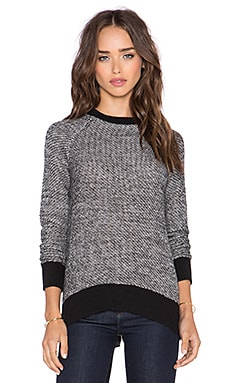 Michael Stars High Low Zip Back Sweater in Tweed