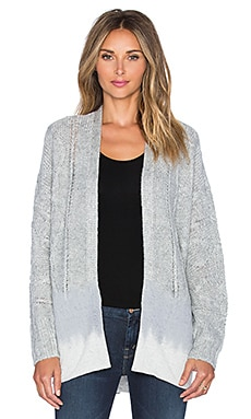 Michael Stars Long Sleeve Open Front Hi Low Cardigan in Heather Grey
