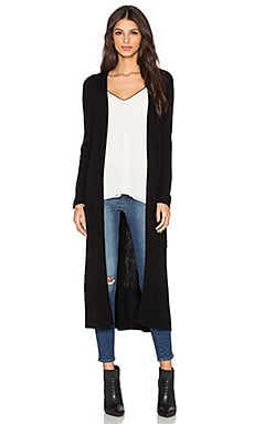 Michael Stars Long Ribbed Cardigan in Black