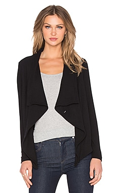 Michael Stars Long Sleeve Wrap Cardigan in Black