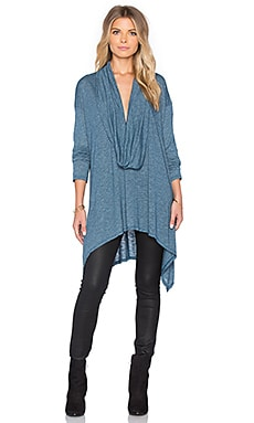 Michael Stars Long Sleeve Cowl Neck Asymmetrical Hem Poncho in Slumber