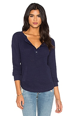 Michael Stars 3/4 Sleeve Henley Top in Nocturnal