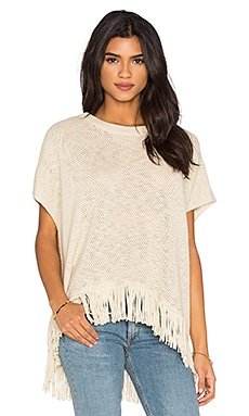 Michael Stars Fringe Poncho in Parchment