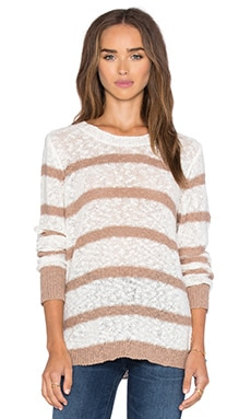 Long Sleeve Striped Crew Neck Pullover in Mojave & Ivory