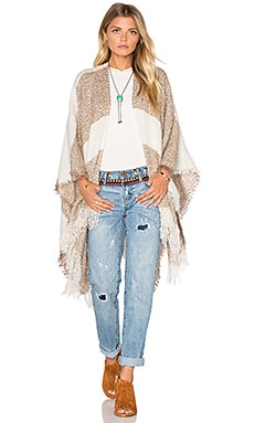Michael Stars Boucle Striped Cape in Chai