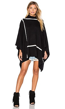 In Check Turtleneck Poncho in Black