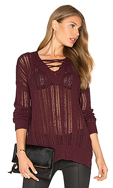 V Neck Lace Up Tunic in Pinot