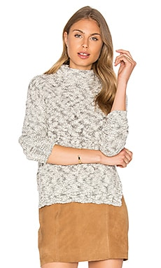 Cabled Turtleneck Pullover in Ivory & Black