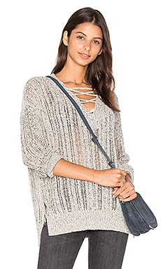 V Neck Lace Up Tunic en Gris Chiné
