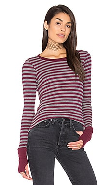 Thermal Striped Sweater in Pinot