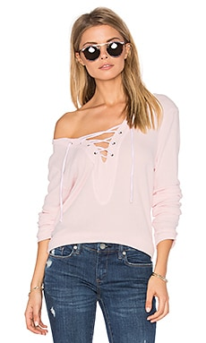 Lace Up Pullover in Blush