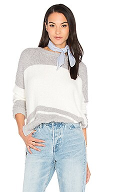 Oversize Striped Sweater en Silver & Ivory
