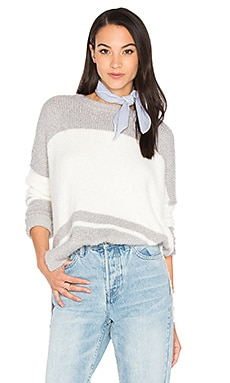 Oversize Striped Sweater in Silver & Ivory