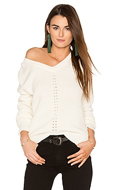 Exposed Shoulder Sweater in Ivory