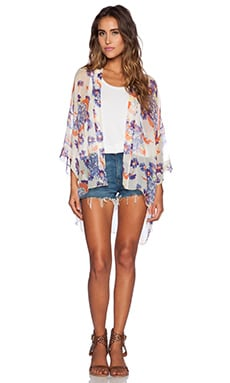Michael Stars Elbow Sleeve Kimono in Ivory Floral