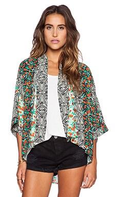 Michael Stars 3/4 Sleeve Kimono in Floral Stripe
