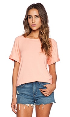 Michael Stars Short Sleeve Raglan Sweatshirt in Coral Blush