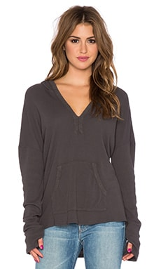 Michael Stars Thumbhole Long Sleeve Hoodie in Oxide
