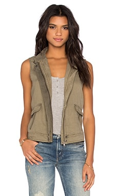 Michael Stars Zip Up Vest in Olive Moss
