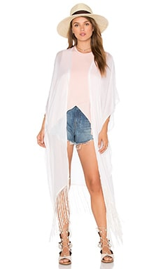 Fringed Out Long Cape en Stone