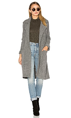 Yak Notch Collar Coat en Gris Chiné Moyen