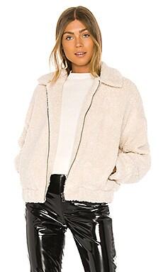 Mindy Zip Sherpa Bomber Jacket Michael Stars $228