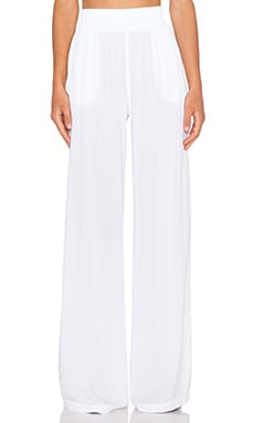 Michael Stars High Waist Wide Leg Pant in White