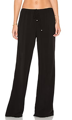 Michael Stars Naomi Wash Elastic Waist Wide Leg Pant in Black