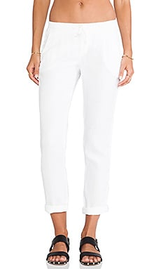 Michael Stars Linen Cuffed Pant With Tuxedo Stripe in White