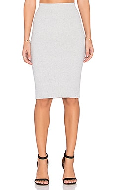 Michael Stars Ribbed Pencil Skirt in Heather Grey