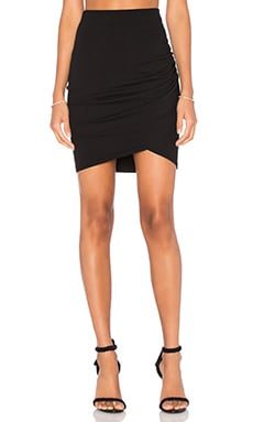 Cross Front Mini Skirt in Black