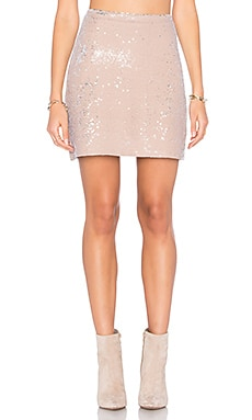 Sequin Mini Skirt in Chai & Silver