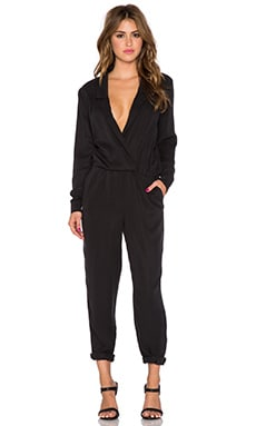 Michael Stars Long Sleeve Collard Jumpsuit in Black