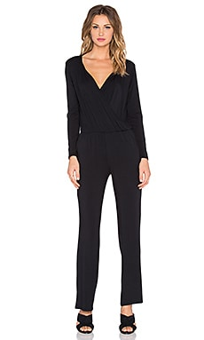 Michael Stars Dana Long Sleeve Surplice Jumpsuit in Black