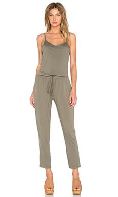 V Neck Jumpsuit in Olive Moss